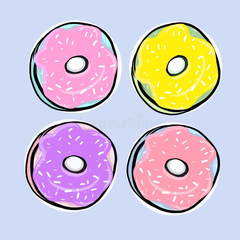 Ställ in av donuts med isläggning stock illustrationer