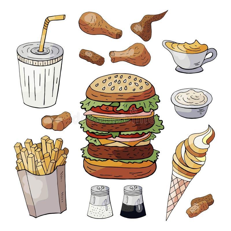 St?ll in av drinkar f?r snabbmatf?rgbest?ndsdelar, hamburgare, mellanm?l, glass som isoleras p? vit bakgrund stock illustrationer