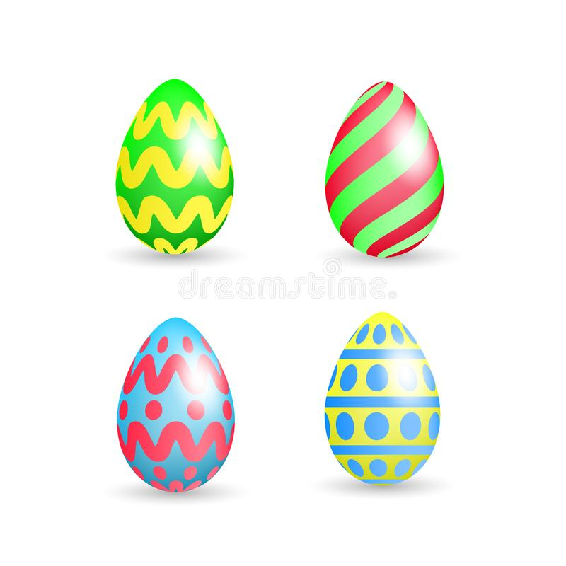 Ställ in av easter som färgrika ägg med olika modeller ställer in isolerat på vit bakgrund också vektor för coreldrawillustration vektor illustrationer