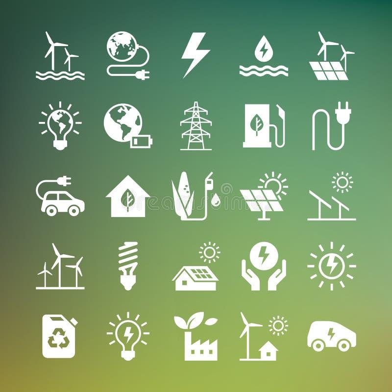 Ställ in av ecovektorsymboler i plan stil som isoleras på mörk bakgrund vektor illustrationer