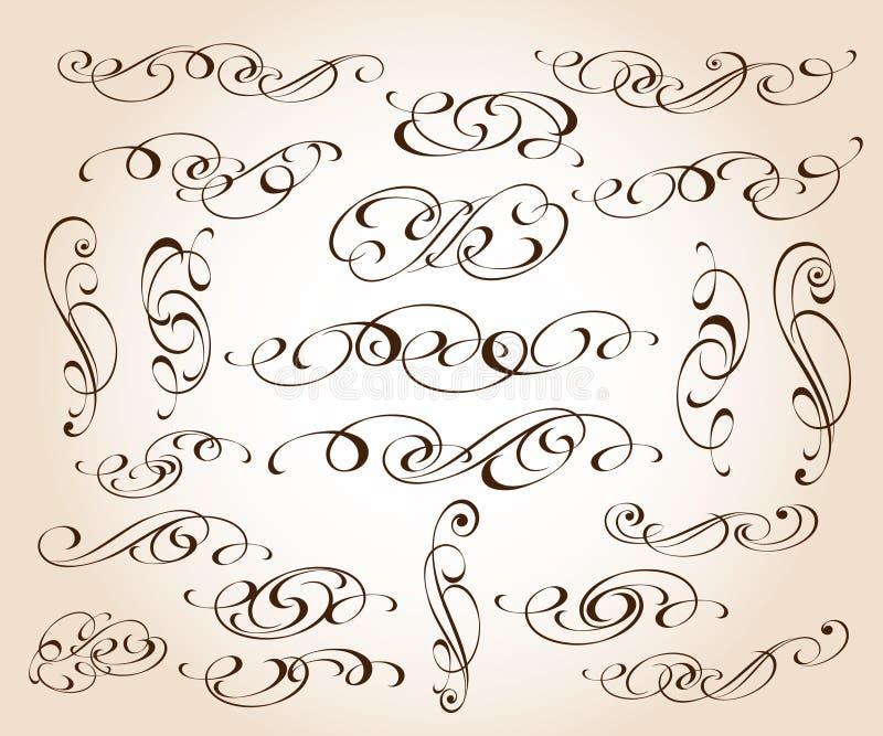 Ställ in av eleganta dekorativa snirkelbeståndsdelar också vektor för coreldrawillustration vektor illustrationer