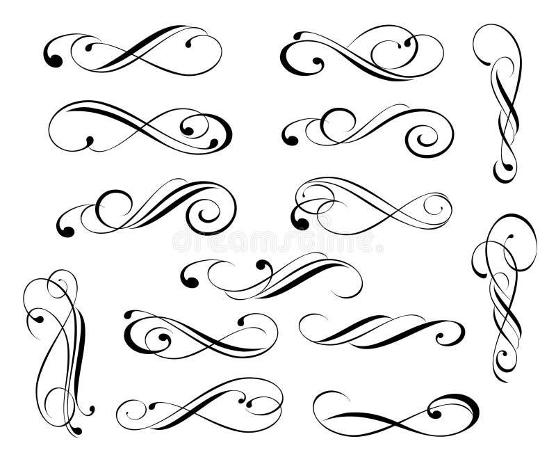 Ställ in av eleganta dekorativa snirkelbeståndsdelar vektor vektor illustrationer