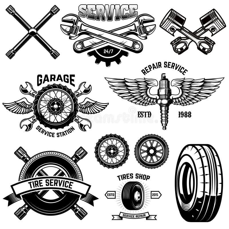 Ställ in av emblem för tappninggummihjulservice och designbeståndsdelar För logo etikett, emblem, tecken, affisch, baner, t-skjor vektor illustrationer
