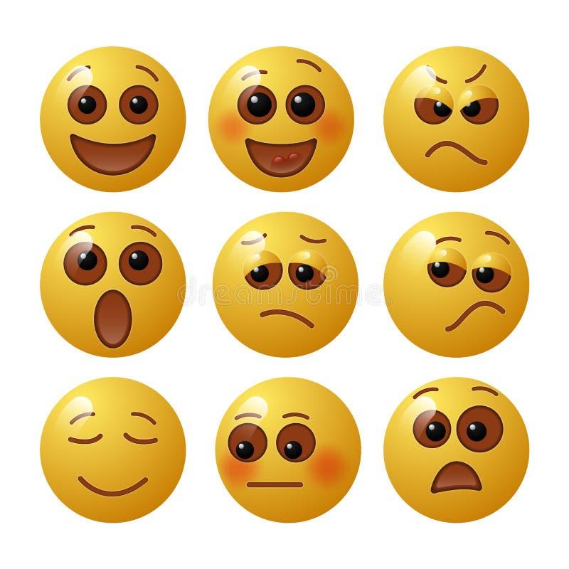Ställ in av emoticons med mänskliga sinnesrörelser Uppsättning av Emoji också vektor för coreldrawillustration stock illustrationer