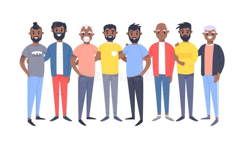 Ställ in av en grupp av olika afrikansk amerikanmän Tecknad filmstiltecken av olika åldrar Vektorillustrationfolk stock illustrationer