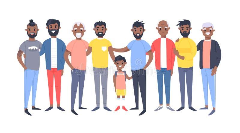 Ställ in av en grupp av olika afrikansk amerikanmän Tecknad filmstiltecken av olika åldrar Vektorillustrationfolk vektor illustrationer