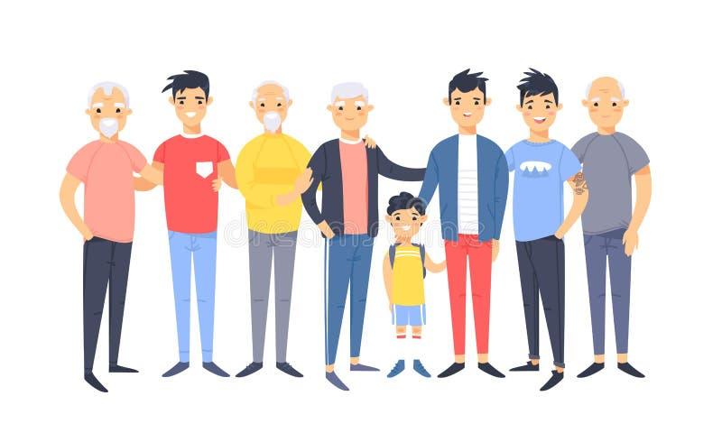 Ställ in av en grupp av olika asiatiska amerikanska män Tecknad filmstiltecken av olika åldrar Vektorillustrationfolk royaltyfri illustrationer