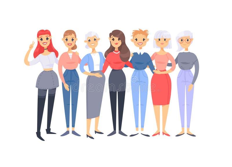 St?ll in av en grupp av olika caucasian kvinnor Europeiska tecken f?r tecknad filmstil av olika ?ldrar Vektorillustrationamerikan vektor illustrationer