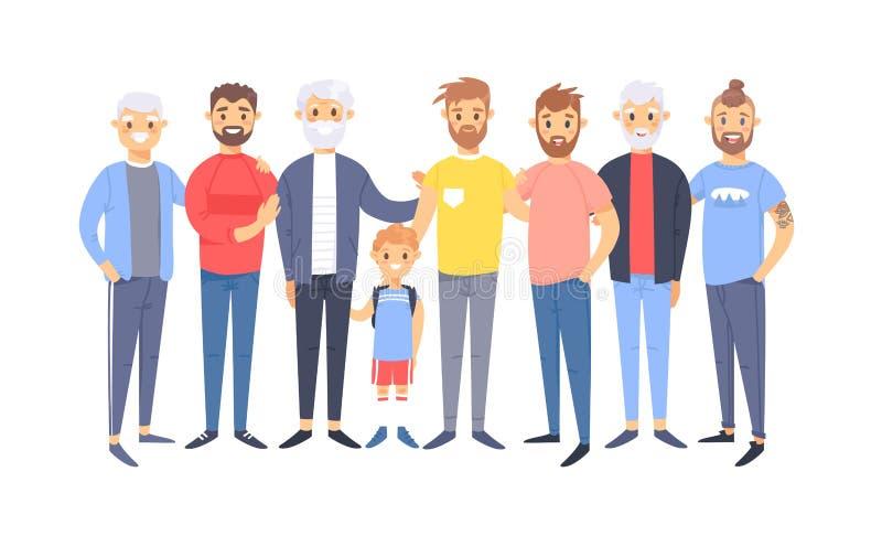 Ställ in av en grupp av olika caucasian män Europeiska tecken för tecknad filmstil av olika åldrar Vektorillustrationamerikan vektor illustrationer