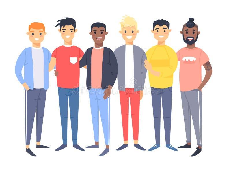 Ställ in av en grupp av olika män Tecknad filmstiltecken av olika lopp Vektorillustrationcaucasian, asiat och afrikan vektor illustrationer