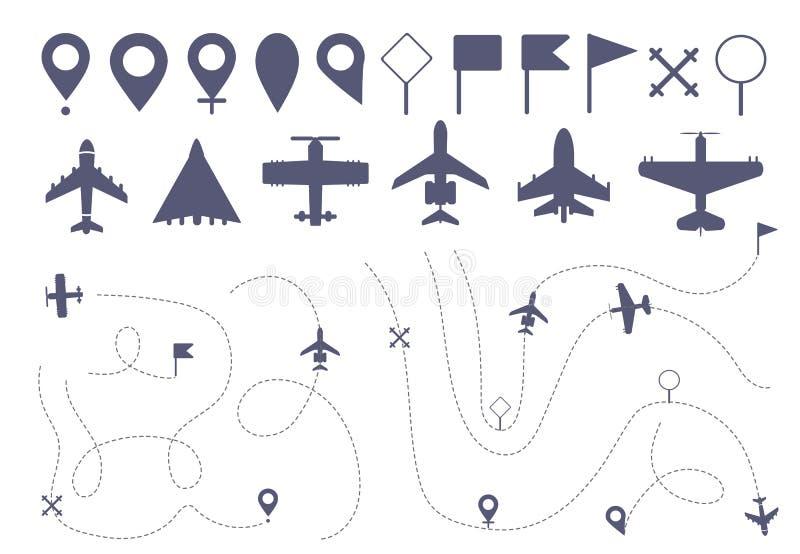 Ställ in av enkel plan ruttlinje vektor illustrationer