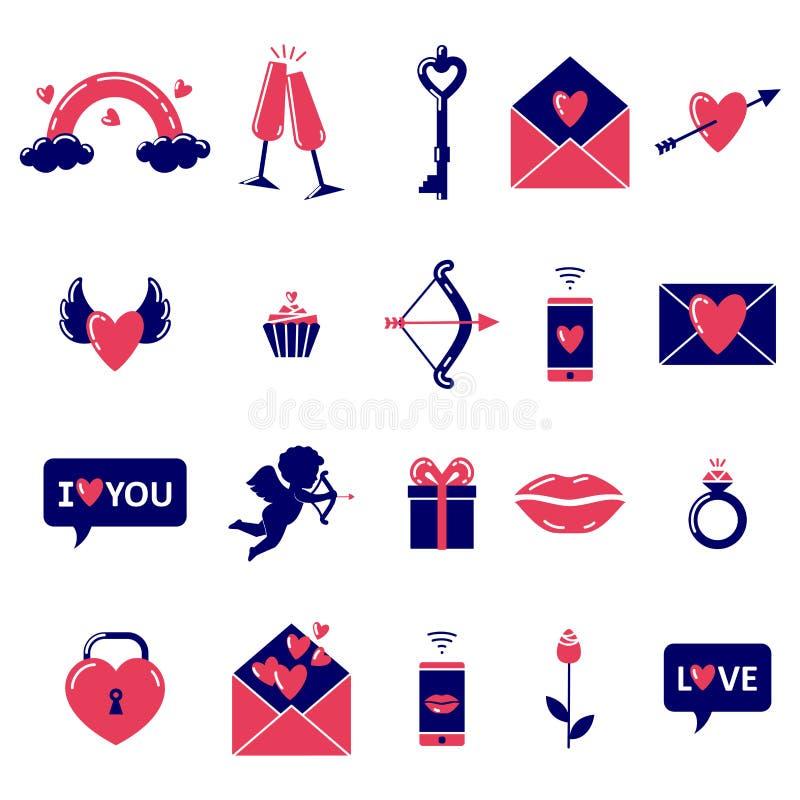 Ställ in av enkla kulöra valentins dagsymboler på vit bakgrund vektor illustrationer