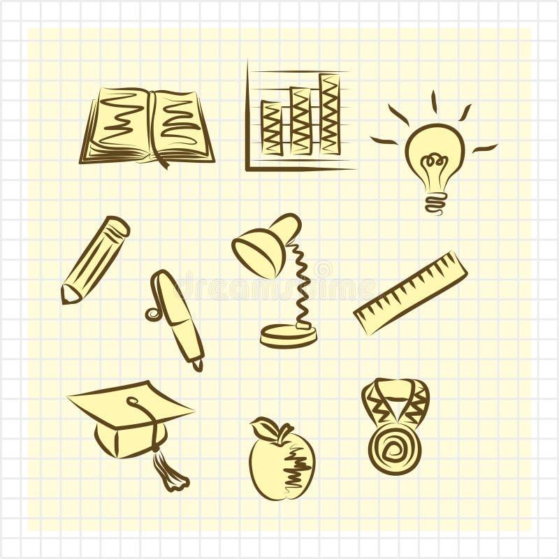 Ställ in av enkla plana bildande guling-brunt skolasymboler royaltyfri illustrationer