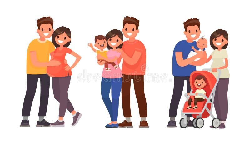 Ställ in av etapper av familjutveckling Havandeskap födelsen av det förstfödda och andra barnet vektor illustrationer