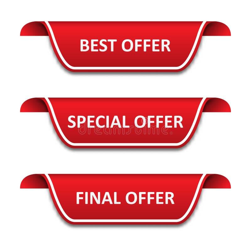 Ställ in av etikettsband Bästa erbjudande, specialt erbjudande, sista erbjudande royaltyfri illustrationer