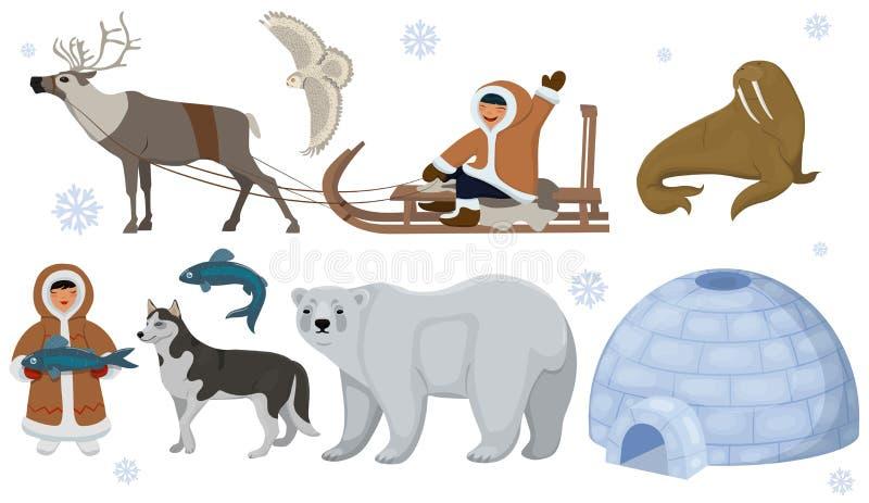 Ställ in av etniska eskimåer med polara djur Polar uggla, björn, valross, hjort Vektorillustration som isoleras p? vit bakgrund vektor illustrationer