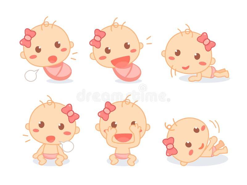 Ställ in av ett gulligt nyfött behandla som ett barn flickan Begynnande litet barnmilstolpar Behandla som ett barn utveckling stock illustrationer