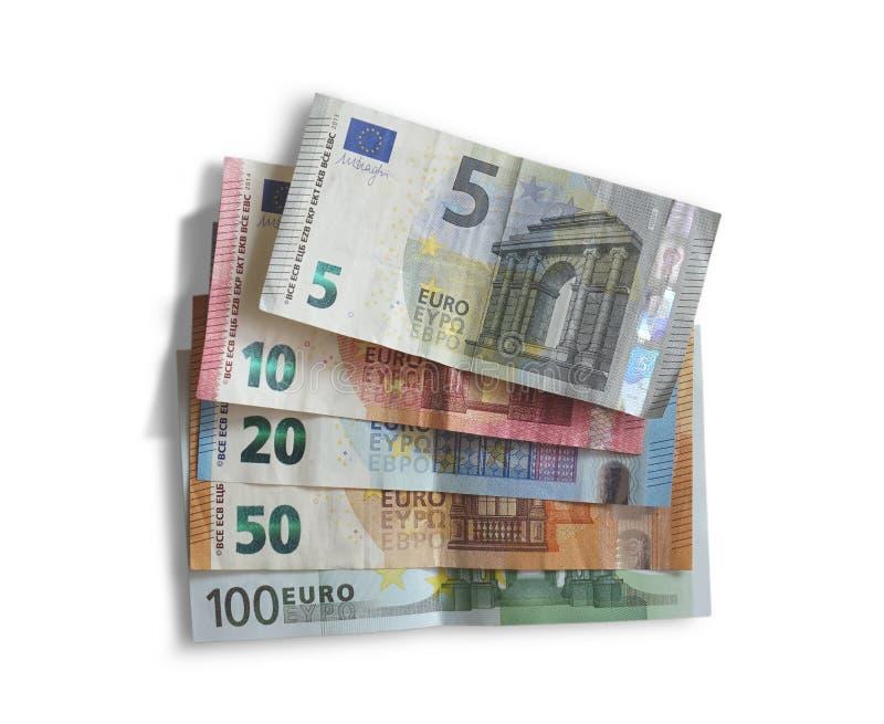 Ställ in av eurosedlar på vit royaltyfria foton
