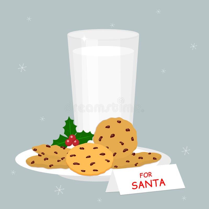 Ställ in av exponeringsglas av mjölkar och bakade havremjölkakor med chokladchiper, järnekbär som isoleras på snöflingabakgrund stock illustrationer
