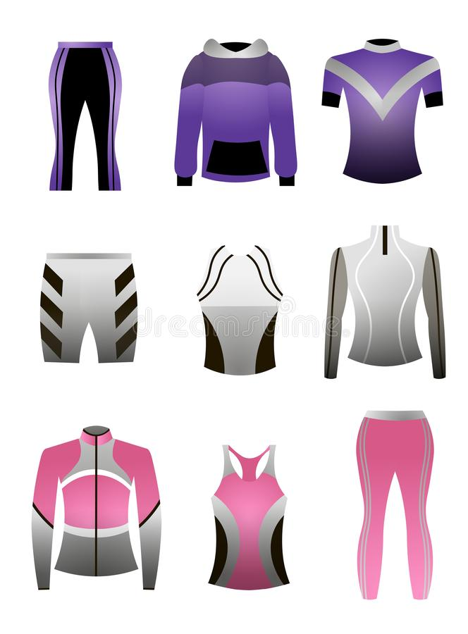 Ställ in av färgrik kläder för den yrkesmässiga sporten, för rinnande eller inomhus utbildning vektor illustrationer