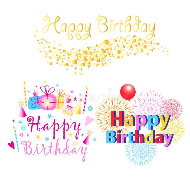 Ställ in av färgrik lycklig födelsedag som tre hälsar texter med gåvor och stearinljus royaltyfri illustrationer