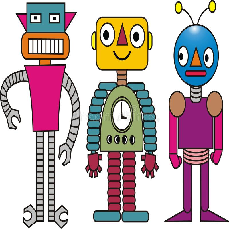 Ställ in av färgrik vektor för robotleksakdesign stock illustrationer
