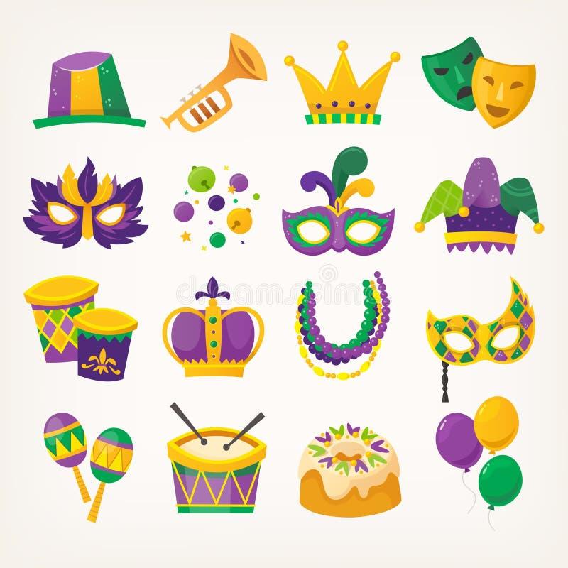 Ställ in av färgrika attribut för att fira Mardi Gras - traditionell vårferie royaltyfri illustrationer