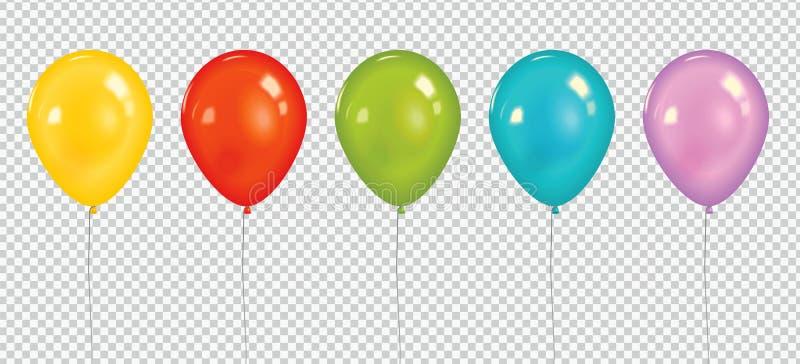 Ställ in av färgrika ballonger för den realistiska vektorn som isoleras på genomskinlig bakgrund konst tecknad ure för natur för  stock illustrationer