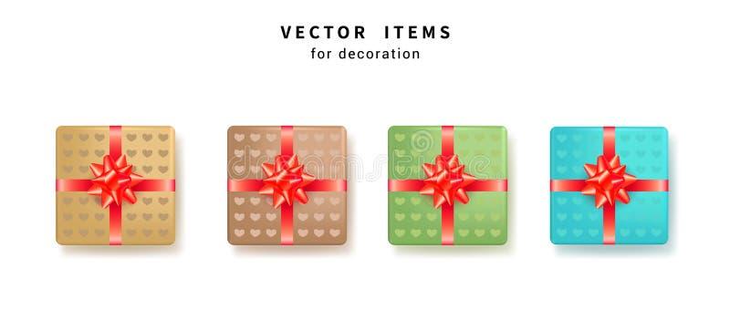 Ställ in av färgrika gåvaaskar med röda pilbågar och band för födelsedag-, valentindag- och årsdagberöm också vektor för coreldra royaltyfri illustrationer