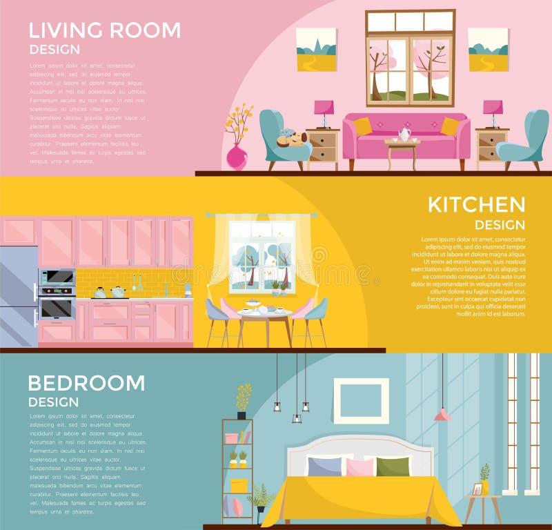 Ställ in av färgrika grafiska ruminre: vardagsrum med soffan, fönster, fåtölj, sovrum med sängkök, matsal 3 baner vektor illustrationer