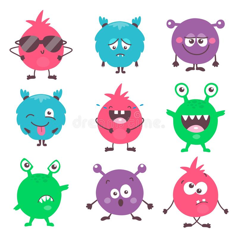 Ställ in av färgrika monster för gullig tecknad film med olika sinnesrörelser Rolig emoticonsemojissamling för ungar fantasi royaltyfri illustrationer