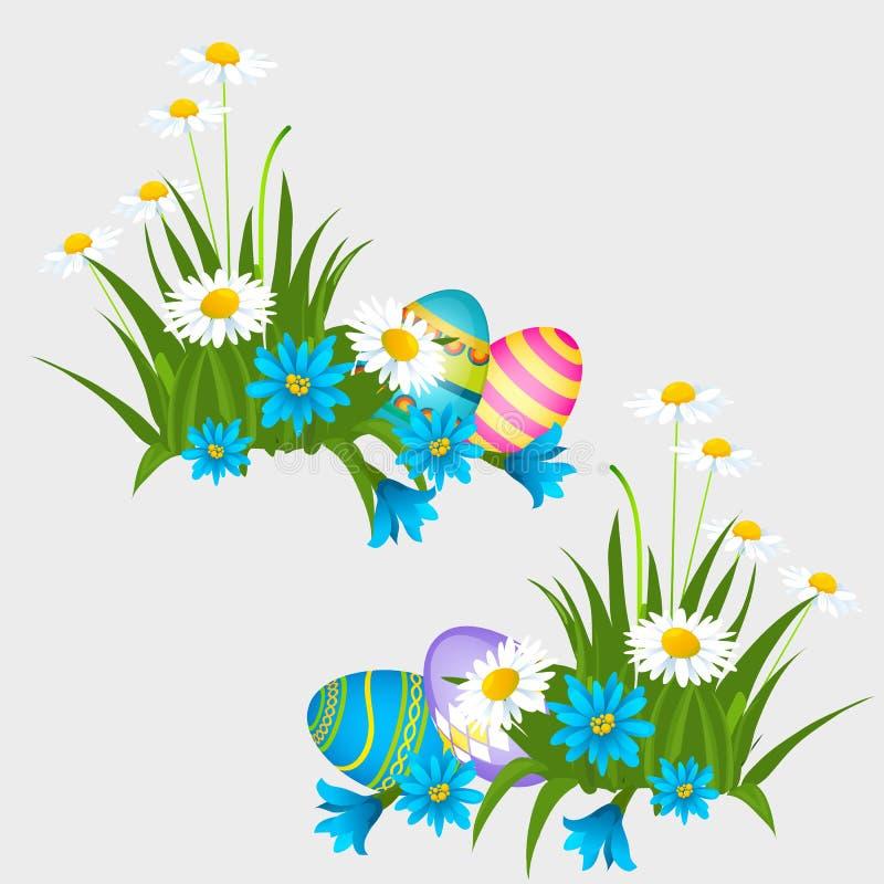 Ställ in av färgrika påskägg med modeller som isoleras på grå bakgrund Illustration för vektortecknad filmnärbild vektor illustrationer
