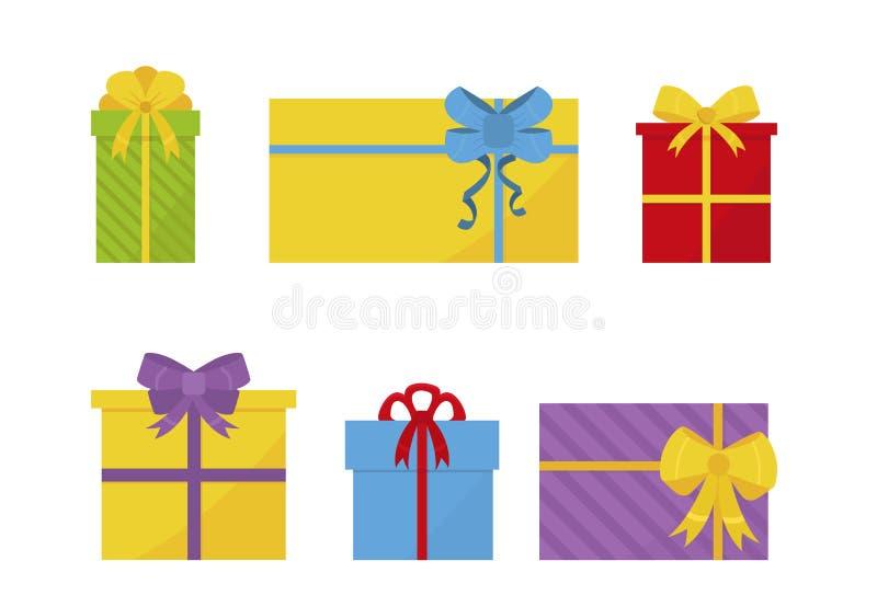 Ställ in av färgrika plana gåvaaskar med pilbågar Gåvor för ferier Element för jul och för nytt år Till salu affisch för vektorde stock illustrationer