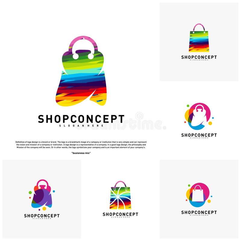 Ställ in av färgrikt shoppar Logo Design Concept Köpcentrum Logo Vector Shoppa och gåvasymbolet royaltyfri illustrationer