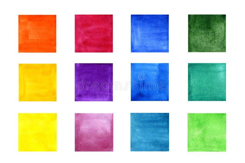Ställ in av färgvattenfärgfyrkanter vektor illustrationer