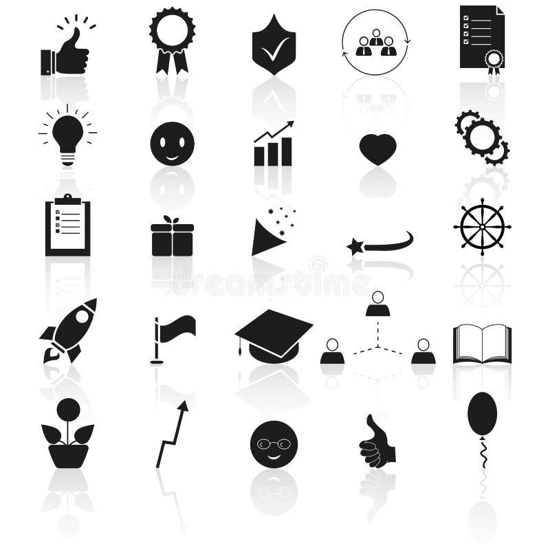 Ställ in av för att komma med upp, den bästa symbolsframgångreflexionen vektor illustrationer