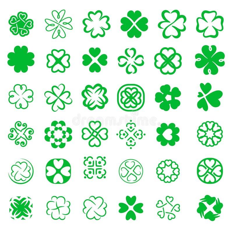 Ställ in av för bladväxter av släktet Trifolium för förmögenhet fyra illustration för vektor vektor illustrationer