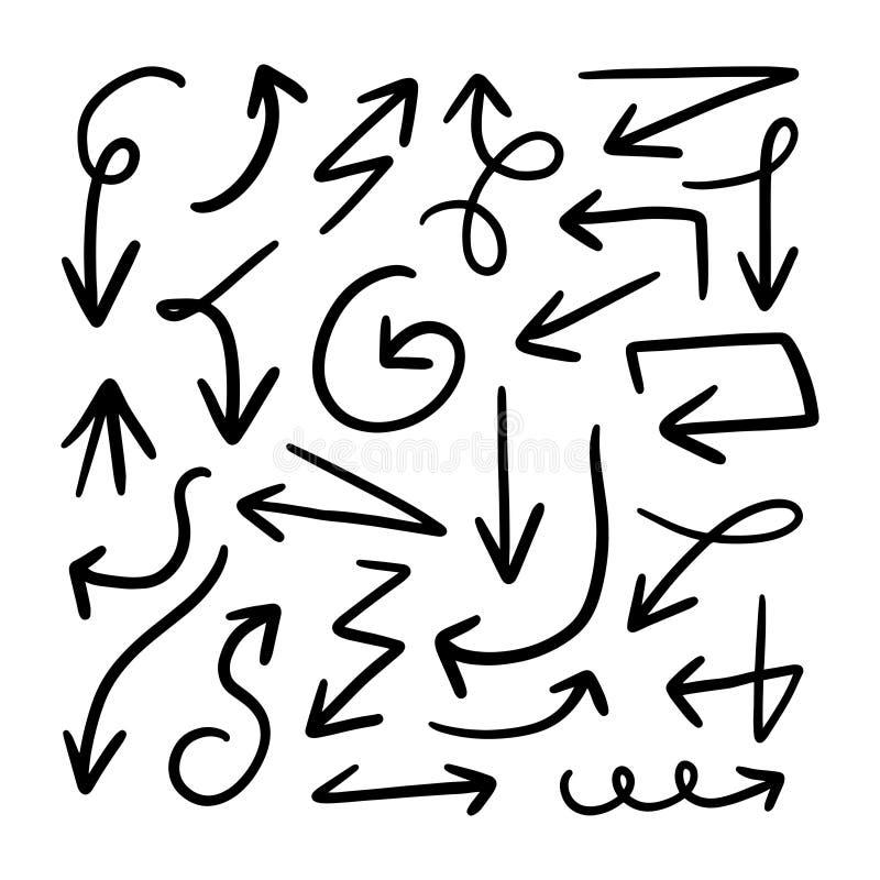 Ställ in av för borsteklotter för hand utdragna symboler för pil Handen skissade grova markörpilar royaltyfri illustrationer