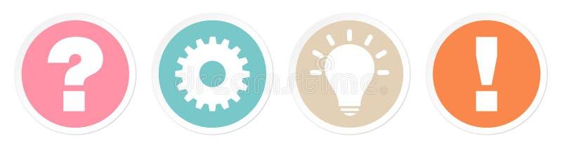Ställ in av för frågearbete för fyra knappar idé och att svara Retro färger vektor illustrationer
