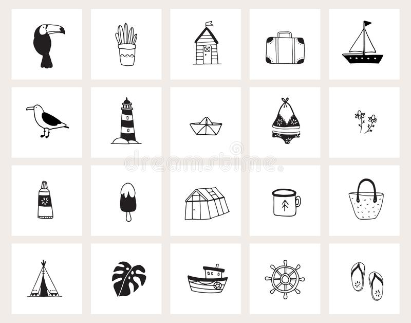 Ställ in av för klotterrengöringsduk för hand utdragna symboler Linje konst Sommar ferie, loppbegrepp Svartvit design Isolerad ve stock illustrationer