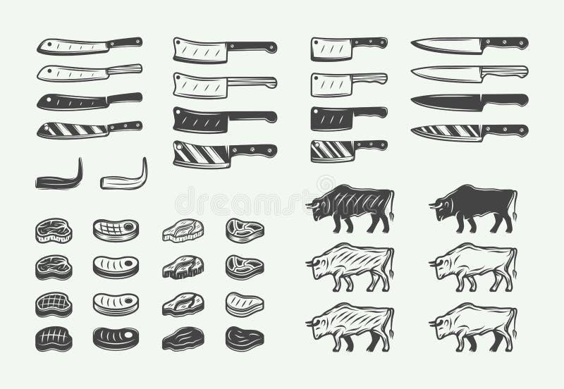 Ställ in av för slaktbbq för tappning retro beståndsdelar Kan användas för logoer, emblem, emblem, etiketter Grafik illustration stock illustrationer