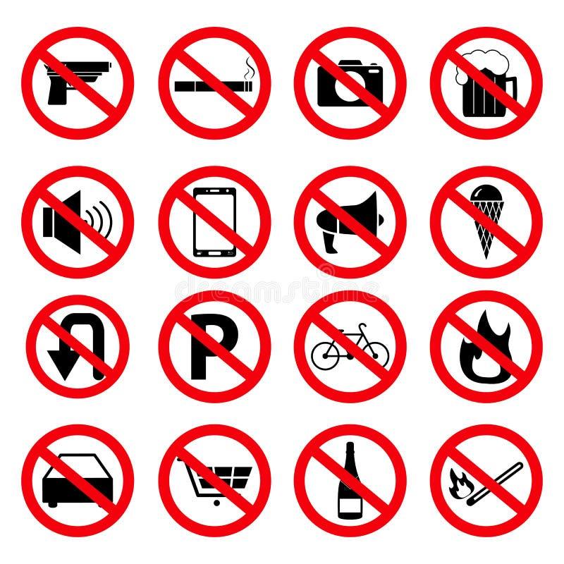 Ställ in av förbudtecknet av symboler vektor illustrationer