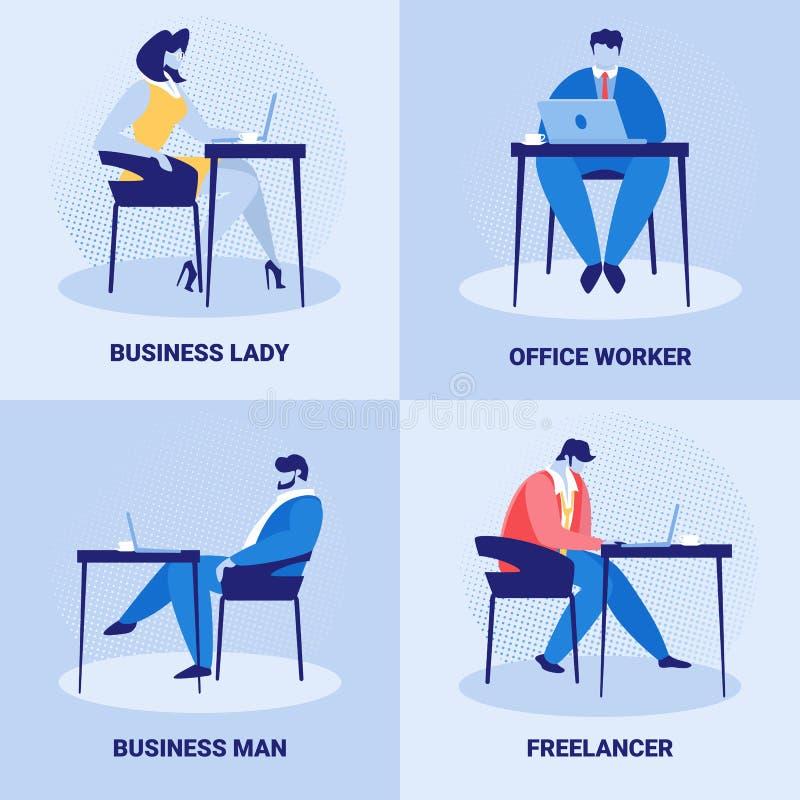 Ställ in av företags anställda, jobb för affärsfolk vektor illustrationer