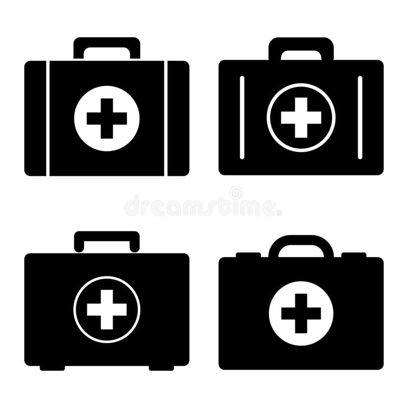 Ställ in av första hjälpensatser för svart ändringssymbolslever medicinsk för skydd white enkelt också vektor för coreldrawillust royaltyfri illustrationer