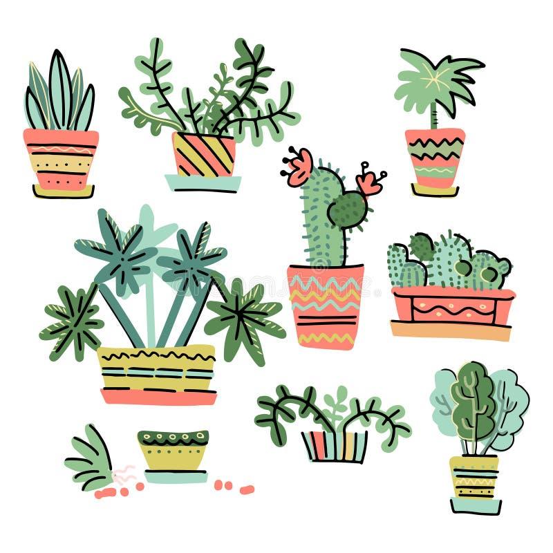 Ställ in av förtjusande miniatyrbeståndsdelar för växtdesign Samling av utdragna houseplants för hand i krukor i scandinavian fär stock illustrationer