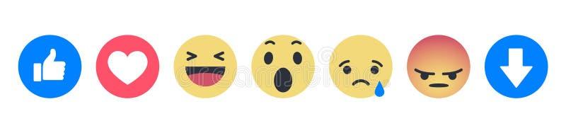 Ställ in av Facebook Empathetic Emoji reaktioner stock illustrationer