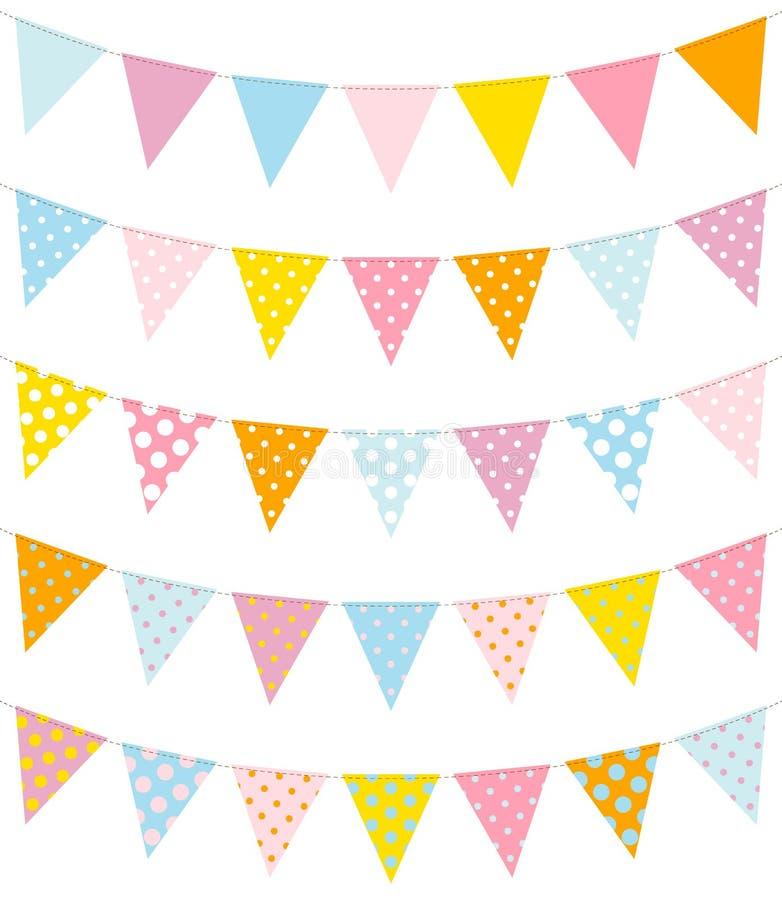 Ställ in av fem Buntings Dots Pattern Blue Yellow Pink vektor illustrationer