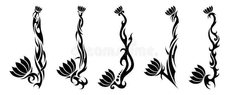Ställ in av fem stam- modellblommatatueringar royaltyfri illustrationer