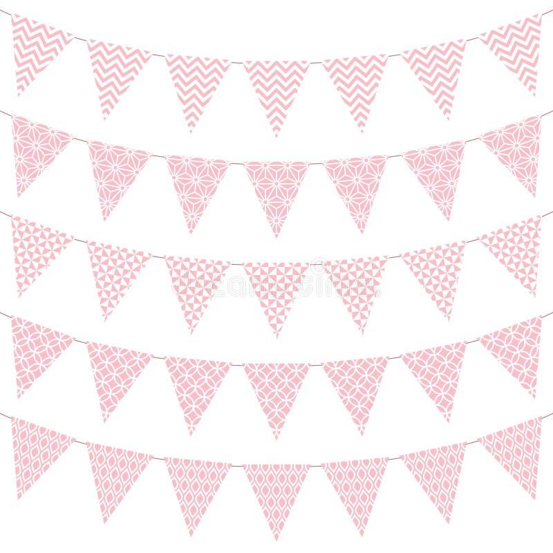 Ställ in av fem standerter med modellen rosa och vitt stock illustrationer