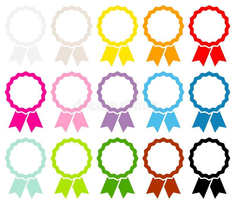 Ställ in av femton färgrika grafiska medaljer inramar med bandet stock illustrationer
